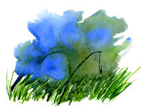Watercolor fishing. Lake and grass. Background Royalty Free Stock Images