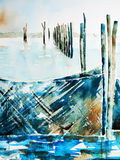 Watercolor of fishing nets in a lake Stock Photos