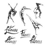 Watercolor fitness logo illustration with hand written calligraphy lettering inscription. Stock Image