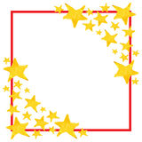 Watercolor five pointed star symbol frame template background Royalty Free Stock Image