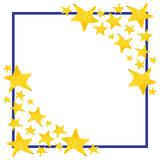Watercolor five pointed star symbol frame template background Stock Image