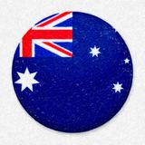 Watercolor Flag of Australia in the form of a round button royalty free stock photography