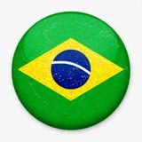 Watercolor Flag of Brazil in the form of a round button royalty free stock photography