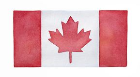Watercolor flag of Canada. stock illustration