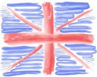 Watercolor flag of England on white background. Great Britain, U. Nited Kingdom symbol vector illustration