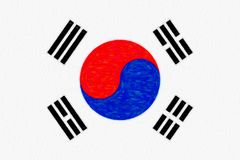Watercolor flag of South Korea, paper texture. Symbol of Independence Day, souvenir soccer game, button language, icon royalty free illustration