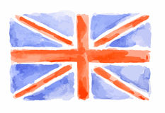 Watercolor flag of UK. Royalty Free Stock Photos