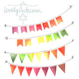 Watercolor flags garlands set Royalty Free Stock Photo