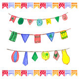 Watercolor flags garlands set. Birthday decor. Royalty Free Stock Photos
