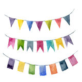 Watercolor flags garlands set. Party, kids party or wedding decor elements isolated on white background. For design, prints or bac Stock Photo