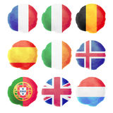 Watercolor Flags, Part I Royalty Free Stock Photos