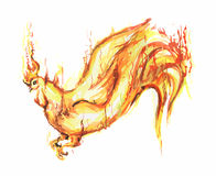 Watercolor flame rooster. Royalty Free Stock Photography