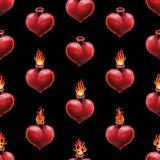Watercolor flaming heart Royalty Free Stock Photography