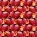 Watercolor flaming heart Stock Image