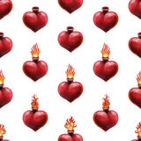 Watercolor flaming heart Stock Photography