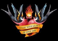 Watercolor flaming heart with ribbon and swallows Royalty Free Stock Photos