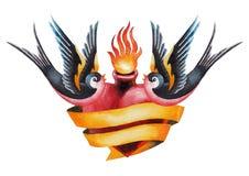 Watercolor flaming heart with ribbon and swallows Stock Photos