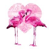 Watercolor flamingos Royalty Free Stock Photo