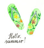 Watercolor flip flops Stock Image