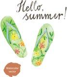 Watercolor flip flops Stock Image