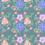 Watercolor, floral σχέδιο για το κλωστοϋφαντουργικό προϊόν Στοκ Εικόνες