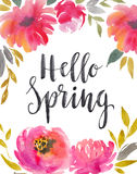 Watercolor floral background with bright scarlet flowers. Spring design card. Royalty Free Stock Photos