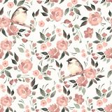 Watercolor floral background with a cutу bird 16. Seamless pattern with bird, flowers and leaves Stock Images