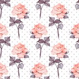 Watercolor floral background. Flowers and polka dot 10. Hand drawn watercolor floral seamless pattern Royalty Free Stock Images