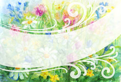 Watercolor floral background frame Stock Photos