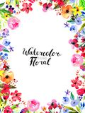 Watercolor Flower Border. Watercolor Floral Background. Hand painted border of flowers. Frame isolated on white and brush lettering. Rose, poppy and peony Stock Photo