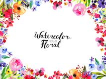 Watercolor Flower Border. Watercolor Floral Background. Hand painted border of flowers. Good for invitations and greeting cards. Frame isolated on white and stock illustration