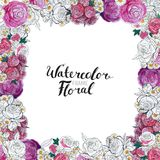 Watercolor Flower Border Royalty Free Stock Images
