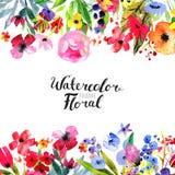 Watercolor Flower Border Stock Photo