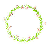 Watercolor Floral background With Hand Painted Leaves. Watercolor Leaf Branch backdrop. Text Frame. Brown berries , green wreth Stock Photo