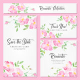 Watercolor floral background with pink wild roses. Set of wedding, invitation or anniversary cards with romantic floral background and sample text. Wild roses Stock Photos