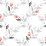 Watercolor floral background. Red flowers. Seamless pattern. Hand drawn watercolor floral seamless pattern Royalty Free Stock Photo