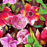 Watercolor floral background. Watercolor seamless colorful floral background stock illustration