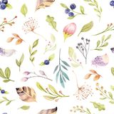 Watercolor floral bloom seamless pattern in pastel colors. Seamless background with bloossom flower and leaves, boho. Watercolor floral background seamless vector illustration
