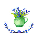 Watercolor Floral background vase. Hand drawn watercolor. Cup with plants Royalty Free Stock Image