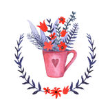 Watercolor Floral background vase. Hand drawn watercolor. Cup with plants Royalty Free Stock Photography