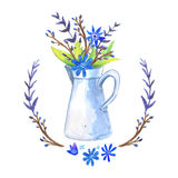 Watercolor Floral background vase. Hand drawn watercolor. Cup with plants Stock Photos
