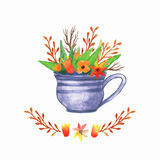Watercolor Floral background vase. Hand drawn watercolor. Cup with plants Stock Image