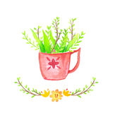 Watercolor Floral background vase. Hand drawn watercolor. Royalty Free Stock Image