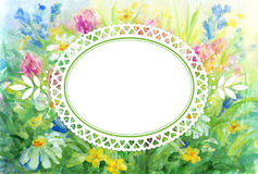 Watercolor floral background with vignette frame Stock Photos
