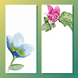 Watercolor floral banners. Invitations or cards Royalty Free Stock Image