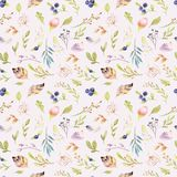 Watercolor floral bloom seamless pattern in pastel colors. Seamless background with bloossom flower and leaves, boho. Watercolor floral background seamless royalty free illustration