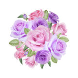 Watercolor floral bouquet of roses and lisianthus Royalty Free Stock Images