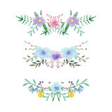 Watercolor floral border set Stock Image