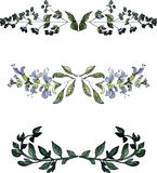 Watercolor floral borders,vintage style watercolor floral elements Stock Images