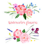 Watercolor floral borders stock illustration